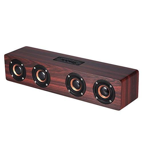 Docooler W8 Bluetooth スピーカー レッドウッド 超低音 サブウーファー マイク付き ハンズフリー 3.5mm AUX-IN TFカード可能 3000mAhバッテリー
