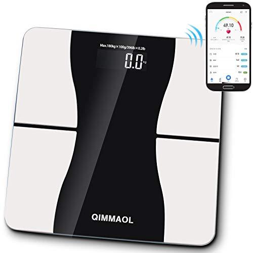 体重計 脂肪計 体組成計 Bluetooth高精度 デジタル iOS/Androidアプリ 体重/BMI/体脂肪率/内臓脂肪レベル/筋肉の状態/骨の状態/体の水分量/基礎代謝 12種類項目測定 自動ON/OFF 日本語取扱説明書付き (ブラック)