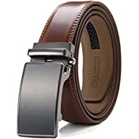 "Men's Leather Ratchet Dress Belt with Automatic Buckle - 1 3/9"" Trim to Comfort Fit"