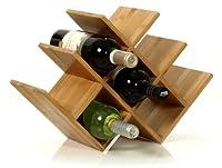 W Shape 8 Bottle Tabletop Wooden Wine Rack (Improved Oct. 2014) by Worldwide Specials LLC