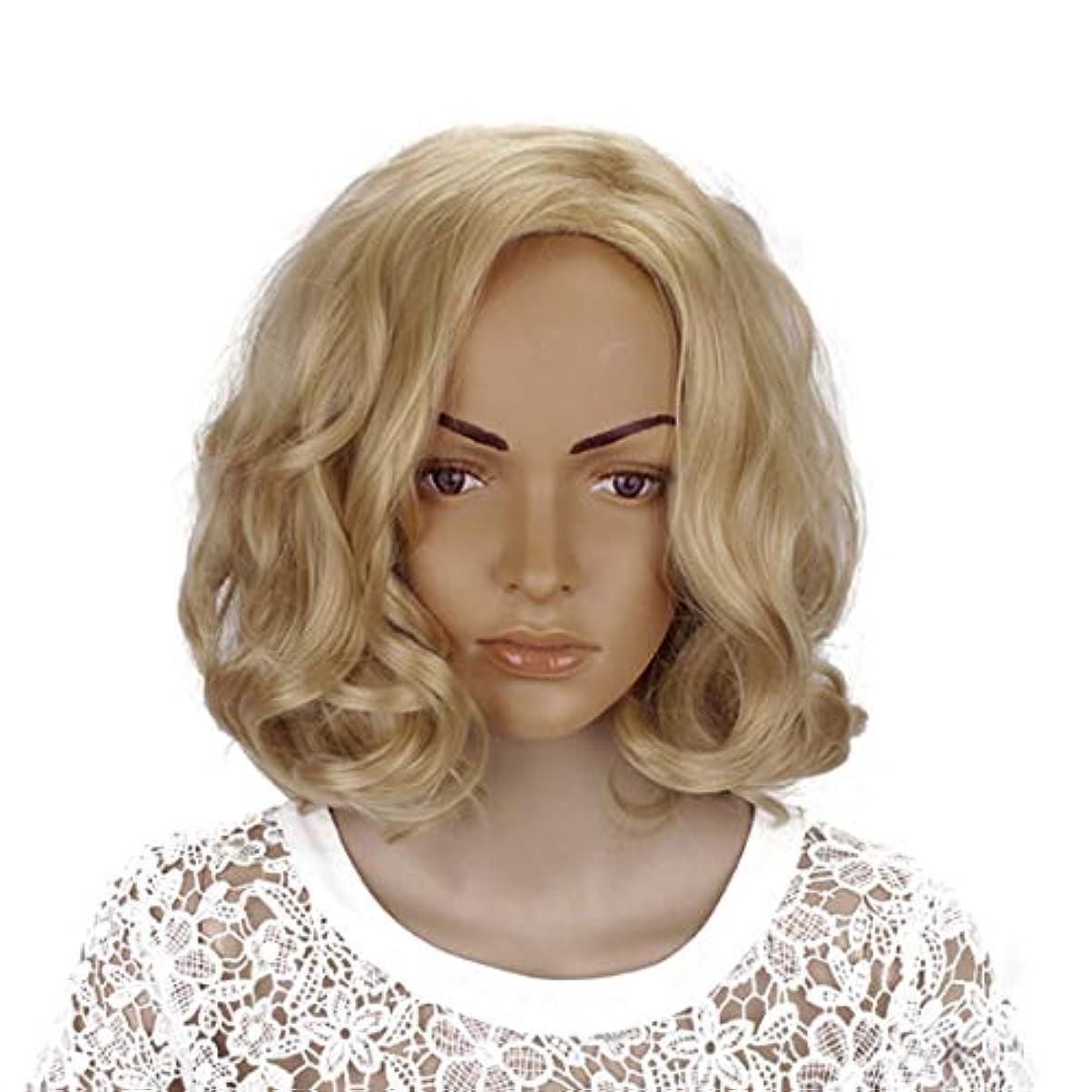 アニメーションを通して書き込みYOUQIU 女性のかつらのための傾斜部前髪コスプレ衣装デイリーパーティーウィッグブロンド14インチ女性ボボカーリーの合成 (色 : Blonde, サイズ : 14