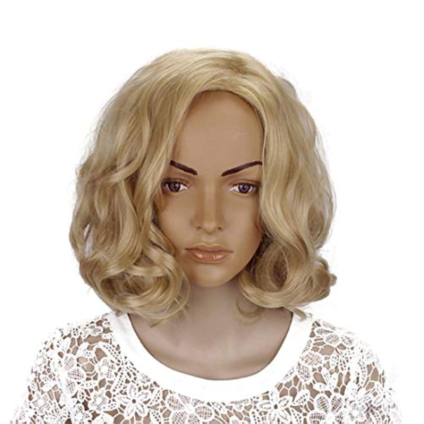 鉛筆静的服を着るYOUQIU 女性のかつらのための傾斜部前髪コスプレ衣装デイリーパーティーウィッグブロンド14インチ女性ボボカーリーの合成 (色 : Blonde, サイズ : 14
