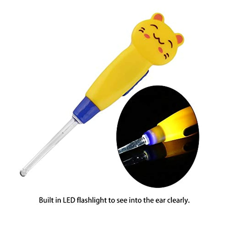 ディンカルビル前その後ZHQI-GH 漫画動物装飾プラスチックイヤーピックポータブルLED懐中電灯イヤーワックス取り外しイヤーピッククリーナーヘルスケアツール14(カラーランダム) (Color : Yellow)