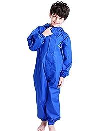 キッズレインコート、子供レインコートキッズ雨具 ガールズ ボーイズレインウェア 上下セット ブルー M(80-100cm)