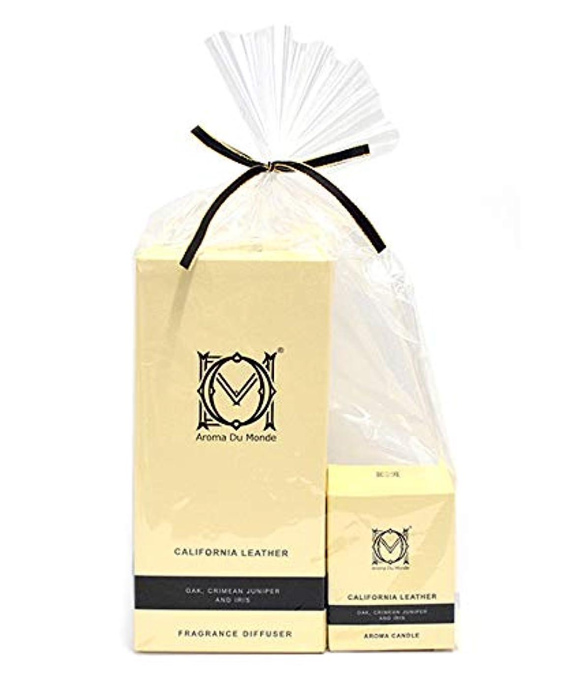 ステートメント衝動ベッドフレグランスディフューザー&キャンドル カリフォルニアレザー セット Aroma Du Monde/ADM Fragrance Diffuser & Candle California Leather Set 81159