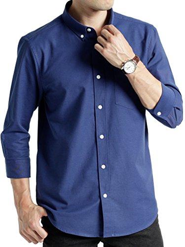 (オークランド) Oakland 7分袖 ハイストレッチ オックスシャツ ストレッチ ボタンダウン バンドカラー シャツ 上質 カジュアル メンズ ブルー Lサイズ