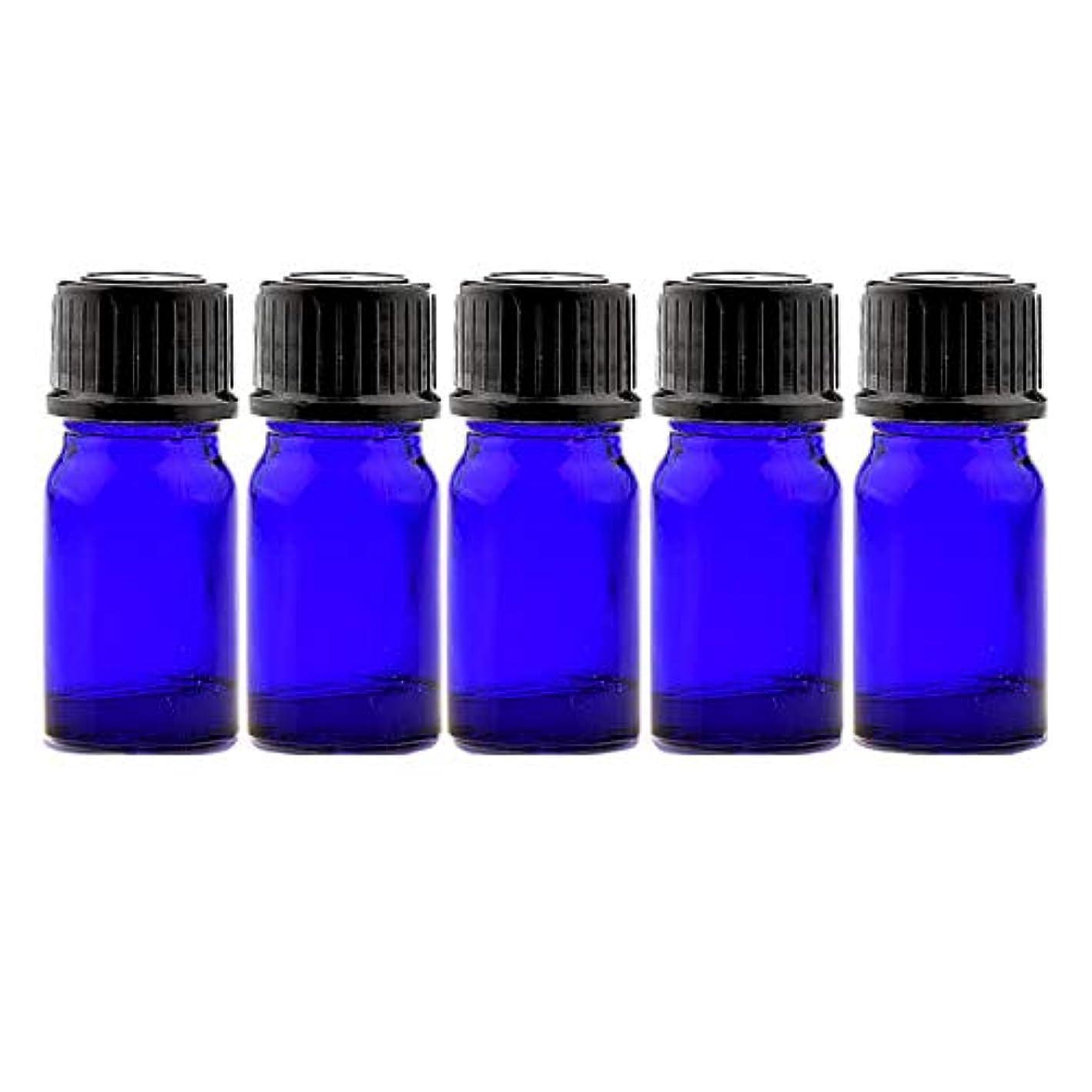 宝石叫び声贈り物NAGOMI AROMA遮光ビン 5ml(ブルー) 5本セット 黒キャップ&ヴァーティカルドロッパー