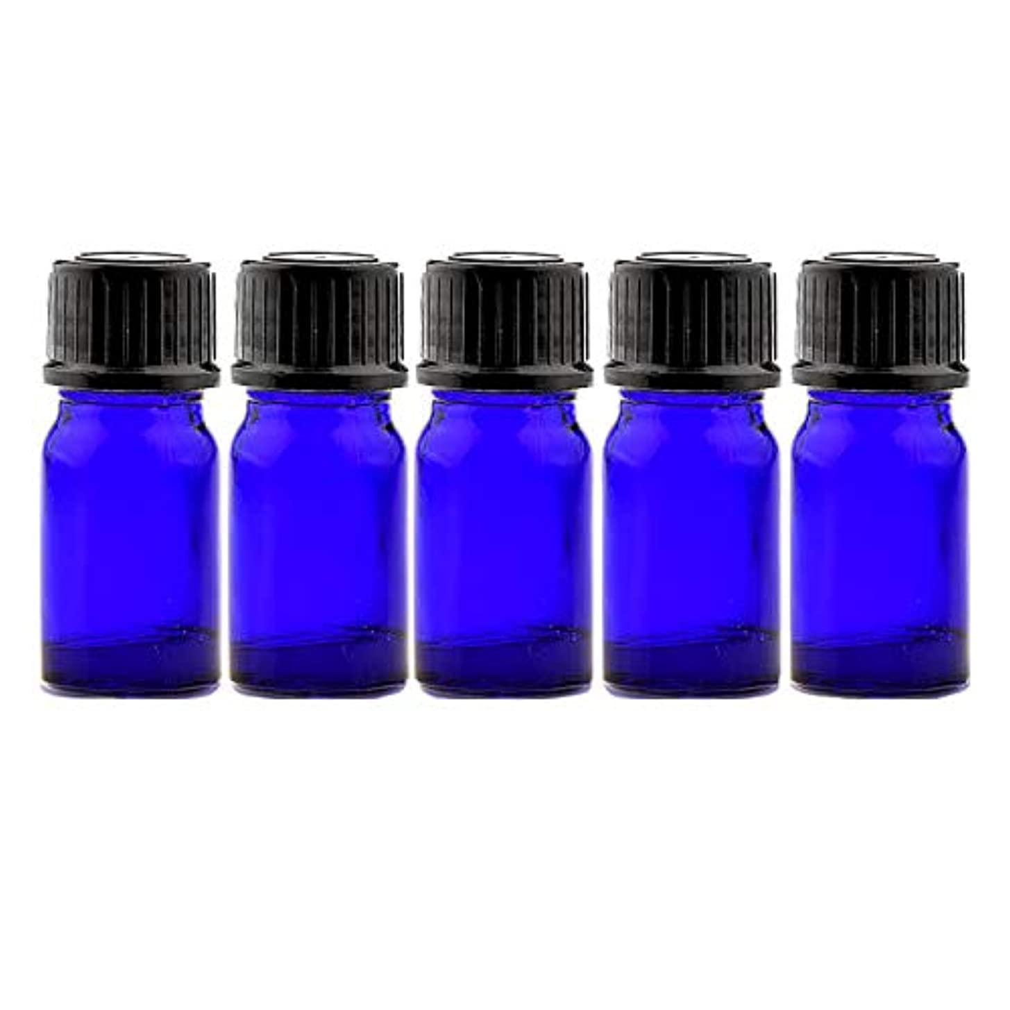 寄付分析的保存するNAGOMI AROMA遮光ビン 5ml(ブルー) 5本セット 黒キャップ&ヴァーティカルドロッパー