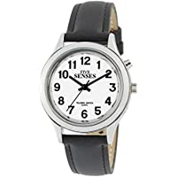 Five Senses talking watch silver-tone women's watch black/tan watch band