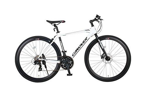 CANOVER(カノーバー) クロスバイク 700C シマノ21段変速 CAC-027-DC (ATENA) フロントディスクブレーキ アルミフレーム フロントLEDライト付 ホワイト