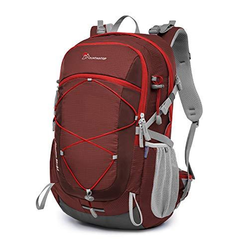 マウンテントップ(Mountaintop) バックパック 40L リュック 登山 ザック アウトドア 旅行用 バッグ リュックサック 防水 軽量 レインカバー付き (マルーン40L)