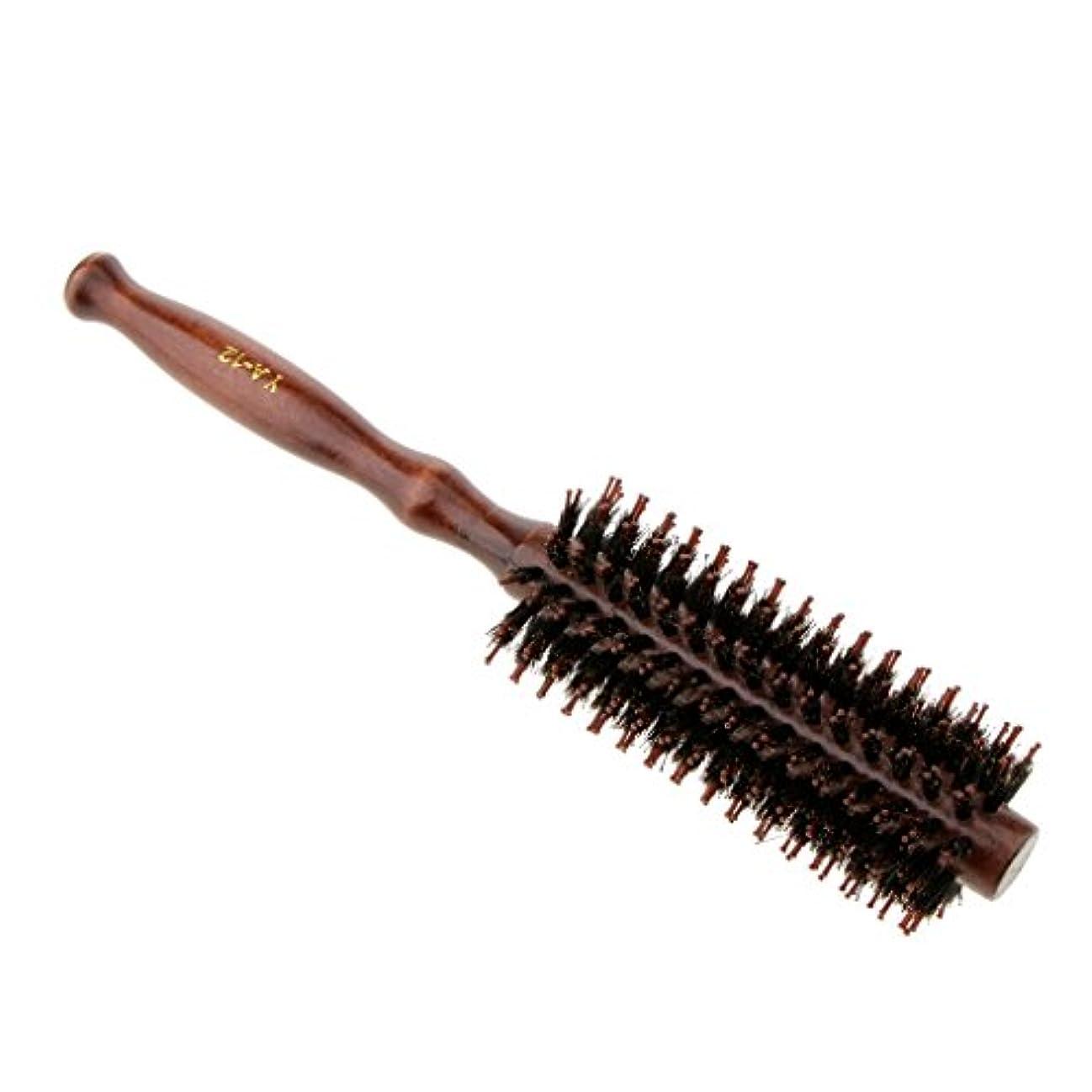 デコレーションスタンド腹痛ロールブラシ ヘアブラシ 木製ハンドル 滑らか カール 巻き髪 頭皮マッサージ くし 櫛 2タイプ選べる - #2