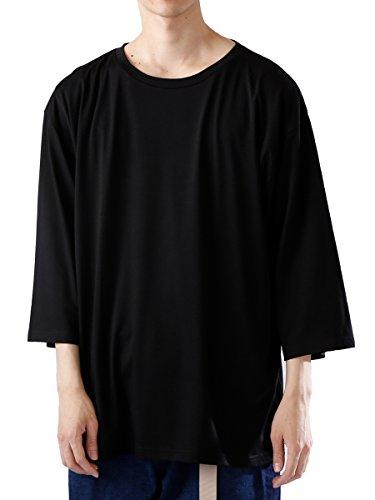 (モノマート) MONO-MART オーバーサイズ カットソー ドロップショルダー サマー BIG Tシャツ 夏 ストレッチ MODE メンズ ブラック フリーサイズ