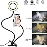 Selfie Ring Light with Cell Phone Holder Stand for Live Stream/Makeup,Tobeape LED Camera Lighting [3-Light Mode] [10-Level Brightness] with Flexible Arms Compatible with iPhone 8 7 6 Plus X Android