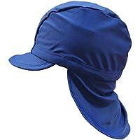 垂れ付 水泳帽 スイミングキャップ UVカット 子供用 キッズ 無地 女の子 男の子 - ネイビー/48~50cm