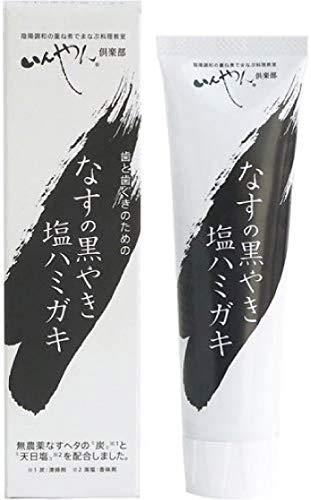 なすの黒やき 塩ハミガキ 100g×2個 送料無料 ネコポス便で配送 合成界面活性剤不使用・ 防腐剤不使用 ・ 合成香料不使用 ・ 安定剤不使用 原材料 水(基材)、食塩[天日塩(香味剤)]、グリセリン(湿潤剤)、炭[ なすの黒焼き (清掃剤)]、キサンタ