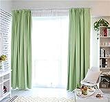 カーテン 1級遮光 ドレープカーテン 2枚組 無地 洗える 全8色6サイズから選べる CL001 (01グリーン, 幅100*丈150cm)