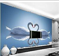 Lcymt カスタム3D壁画、ロマンチックな白鳥の反射リビングルームのソファーテレビの壁の寝室の壁紙-350X250Cm