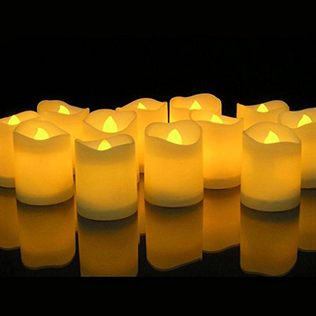賞省テープAmbox Flameless LEDティーライトキャンドル、12パックリアルなと明るいちらつきキャンドルTealights電池式電動Fakeピラーキャンドルの季節& Festival Celebration、暖かいイエロー