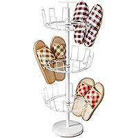 アイロン3層回転靴ラックシンプルペイントクリエイティブな通気性の靴ラックリアドア収納ラック(靴ラックのみ含む)