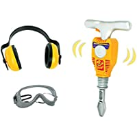 Junior Engineer Jackhammer Toy Construction Tool Drill with Earmuffs, Safety Goggles, and Accessories