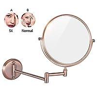 浴室化粧鏡、8インチウォールマウント拡大丈夫両面調整可能な化粧品シェービング化粧品拡張可能な回転,5X