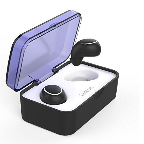 Lesoom Bluetooth イヤホン ワイヤレス イヤホン スポーツ HIFI高音質 イヤフォン IPX5級防水 ブルートゥース 防水 ヘッドホン 片耳 両耳とも対応 左右独立型 ステレオ 無線 防滴 防塵 スポーツ ヘッドフォン マイク内蔵 ワンボタン設計 Bluetooth 4.2採用 カナル型イヤホン ヘッドセット ハンズフリー通話 充電式収納ケース iPhone Android 対応 ミニ型 小型 軽量 イヤホン 技適認証済 日本語説明書付き (T1ブラック)