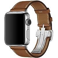 【WAfeel】Apple Watch アップルウォッチ通用バンド ウォッチ交換ベルト 本革レザー使用 上品なスタイル 折りたたみ式バックル仕様 男女兼用 (42mm)