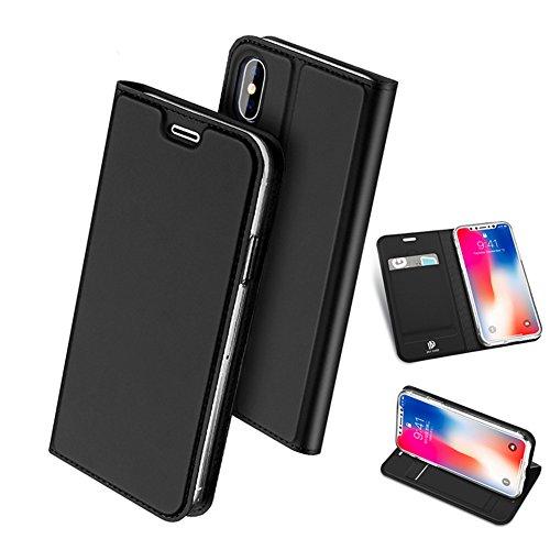 iPhone X ケース 手帳型 iphone X カバー 耐衝撃 高品質 合皮レザー 超薄型 カード収納 ワイヤレス充電対応 マグネット スタンド 機能 人気 おしゃれ アイフォン X 手帳型ケース (iPhone X, ブラック)