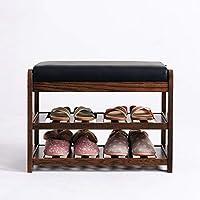 DD シューズホルダー シンプルなソリッドウッドの靴のベンチの玄関の模造PUマットダブル靴のラックソファのスツール/シェルフ 木製ラック (色 : Brown -85X34X48cm)