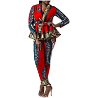MogogN Womens African Style Dashiki Printed Flouncing T-Shirts and Pants Sets