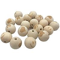 Kissteether 50pcs ラウンドネックレス木製ビーズスマイリーフェイスLOVEペンタグラムクラウン柄未完ベビーおしゃぶり木製の歯が生えるビーズ (50pcs)