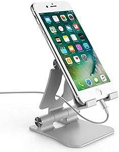 スマホ スタンド iphone対応 スタンド 携帯スタンド スマホスタンド 卓上 ホルダー 角度調整可能 Rssviss 折り畳み式 スタンド コンパクト 充電スタンド iPhone/iPad/Nintendo Switch/android対応(シルバー)