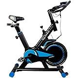 [1年保証] Ms. RAJA フィットネス スピンバイク 最新改良版 ホイール11kg 静音設計 本格仕様 トレーニング バイク スマホホルダー付き (ブラック×ブルー)