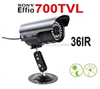 700TVL Outdoor/Indoor Waterproof Day Night Vision Infrared Bullet Security Camera CCTV IR LEDs 6mm Fixed Lens 15~30M IR Distance for Home Video DVR Surveillance System-Black [並行輸入品]