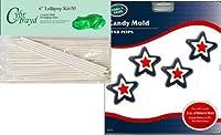 Cybrtrayd 'Star Pop' Make 'N Mould Chocolate Candy Mould with 50 Cybrtrayd 15cm Lollipop Sticks