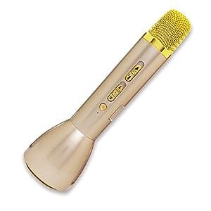 I-O DATA カラオケマイク 家庭用/1人カラオケ/ワイヤレス/スピーカー付/スマホ対応/Bluetooth/ゴールド GP-BTMIC1/G