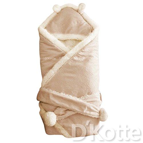(ディーコッテ) D'Kotte ベビー ふわふわ ボア フリース 耳付き フード おくるみ 肉厚 モコモコ あったか 素材 赤ちゃん ベルト 付き アフガン ブランケット スリーパー 寝かしつけ お出かけ 出産祝い (ブラウン)