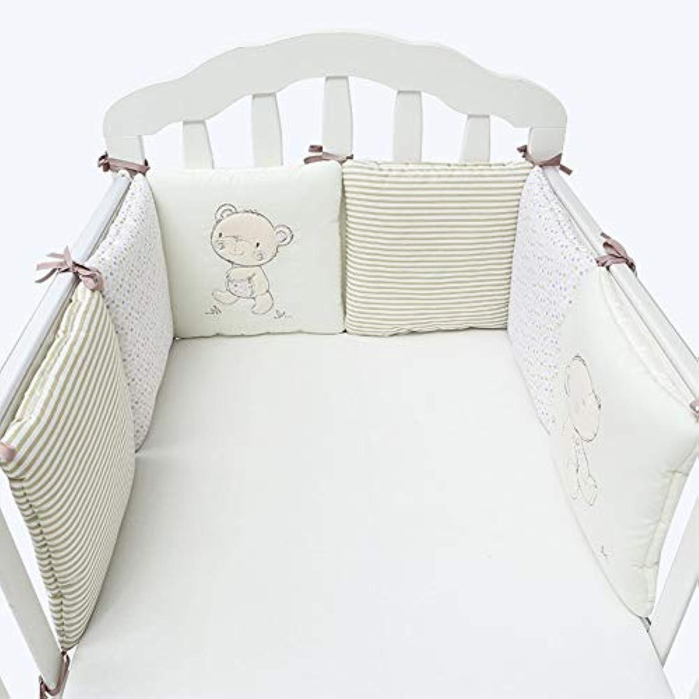 ベビーベッドバンパー柔らかい通気性の漫画のパターンベビーベビープロテクター子供のためのベビーベッド寝具6ピースセット付き