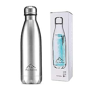 稲植屋 水筒 ステンレス 保温保冷 真空断熱 スポーツボトル コカコーラボトル 500ml (シルバー)