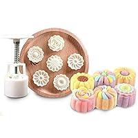 1ロット 6個入り ラウンド型 3D ハンドプレス ムーンケーキ型 ミッドオータム ムーン ケーキ型 DIY ベーキング型 セット 耐熱皿