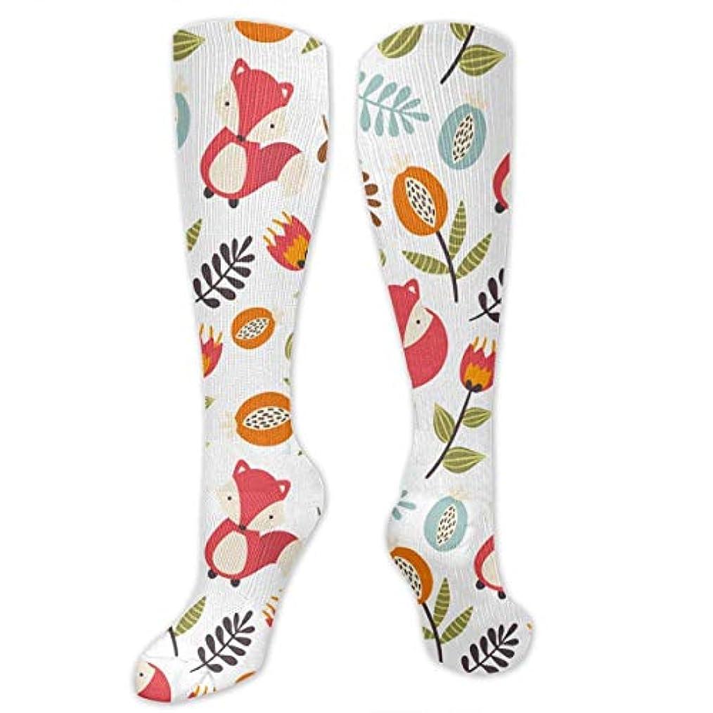 側面ご飯ちょっと待って靴下,ストッキング,野生のジョーカー,実際,秋の本質,冬必須,サマーウェア&RBXAA Colorful Foxes and Flowers Socks Women's Winter Cotton Long Tube Socks...