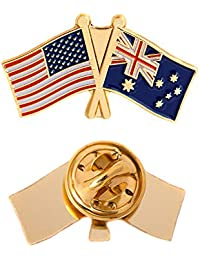 Australia Country Double Flag Lapel Pin Enamel with United States USA US Made of Metal Souvenir Hat Men Women Patriotic Australian