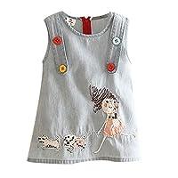 ANKECHANG 子供服 ワンピース チュニック 女の子 ノースリープ 夏服 純色 デニム ワンポイント 背中開き 動物柄 普段着 size 120 (デニム)