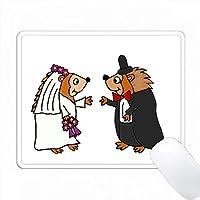 面白いヘッジホッグの花嫁と花婿の結婚式の漫画 PC Mouse Pad パソコン マウスパッド