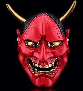 コスプレ 般若 鬼 仮面 お面 変装 マスク ハロウィン コスチューム 仮装 イベント インテリア パーティー 赤 レッド