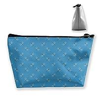 とんぼ 青い図案 化粧ポーチ メイクポーチ コスメポーチ 化粧品収納 ミニ 財布 小物入れ 軽い 軽量 防水 旅行も携帯便利 多機能 バッグ 小さな化粧品の袋