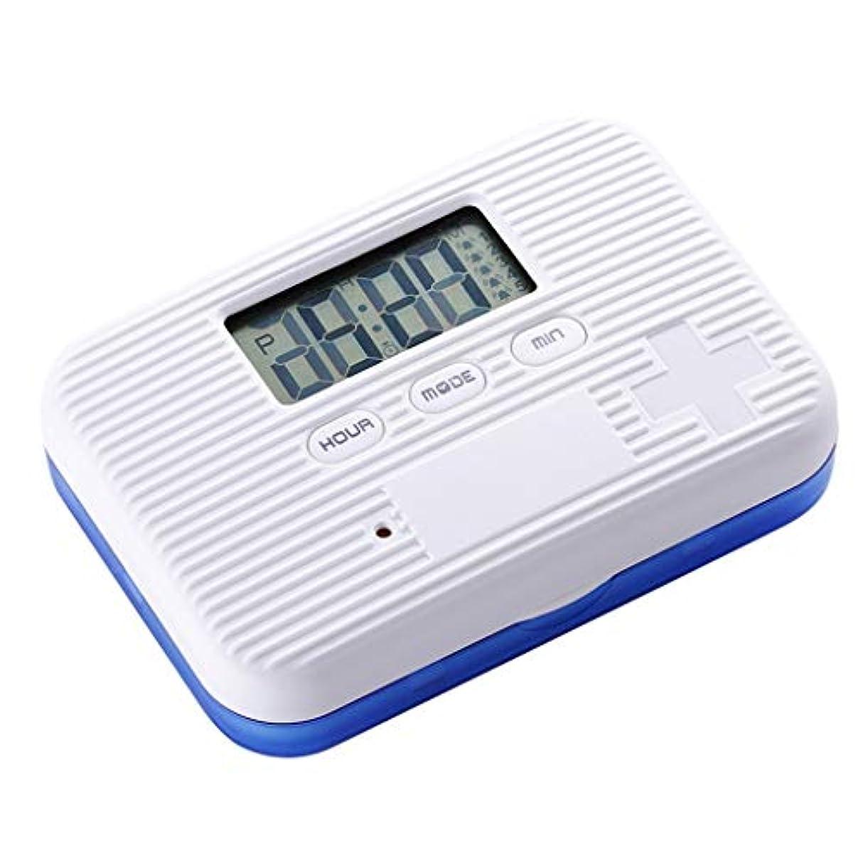 自発繊毛振動させる家庭用薬箱スマート薬箱リマインダーキット携帯用薬箱一土曜グリッド薬箱携帯用ミニ 薬箱 (Color : White+Blue, Size : 9.5cm×6.5cm×2cm)