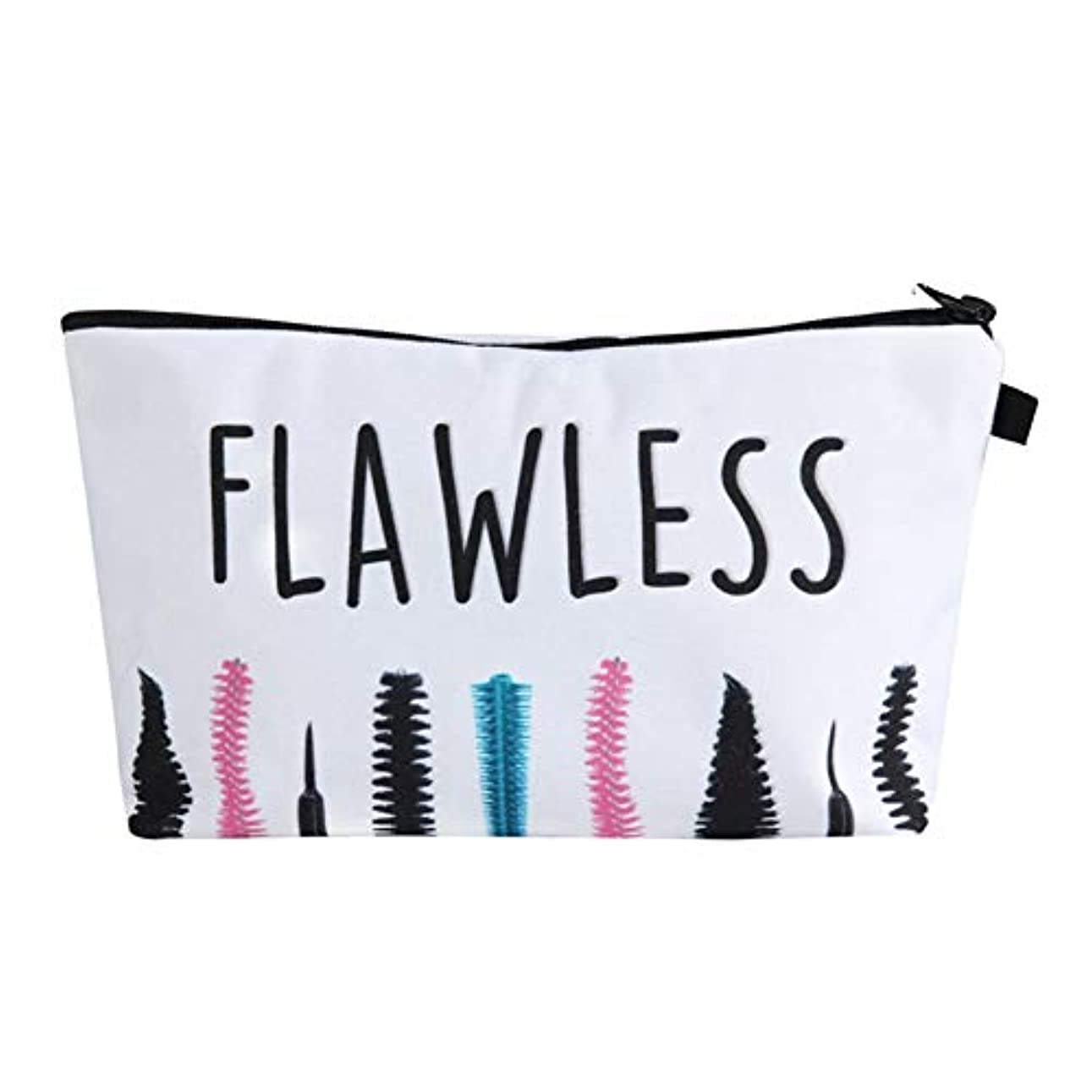 寝具倍増薄汚い化粧オーガナイザーバッグ ポータブル防水化粧品袋印刷トップジッパーメークアップの場合旅行 化粧品ケース (色 : 白)