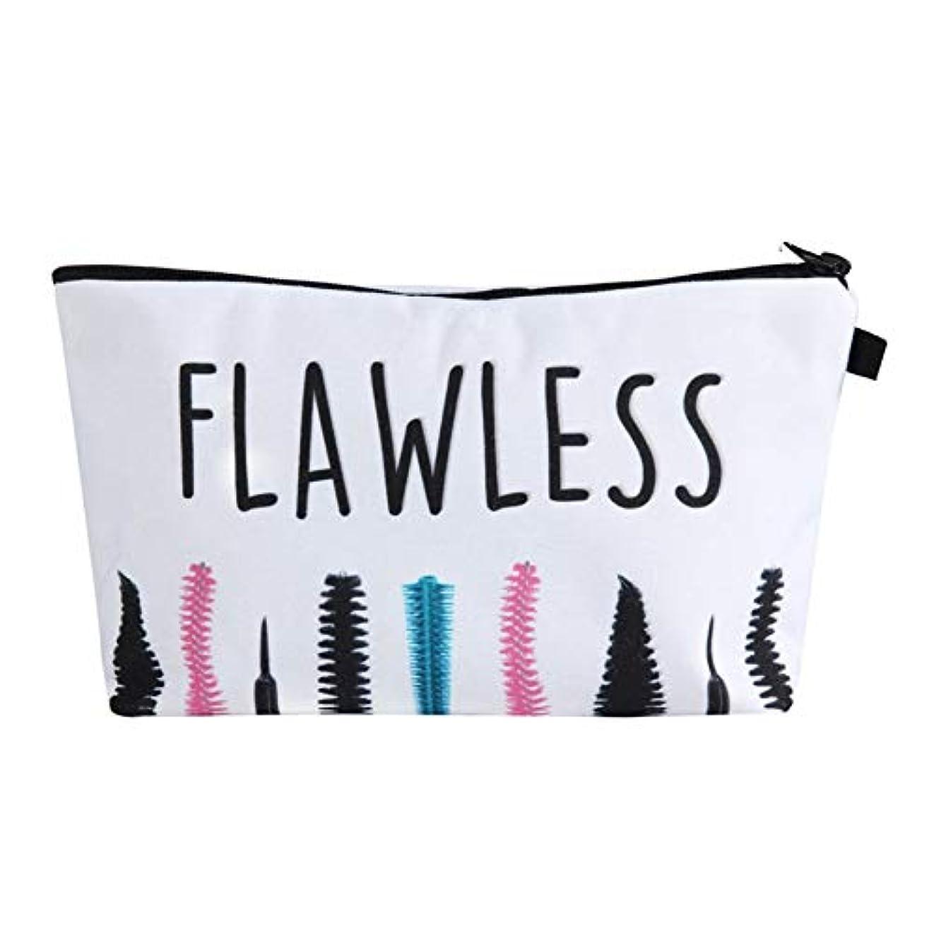 手書き対抗絶妙化粧オーガナイザーバッグ ポータブル防水化粧品袋印刷トップジッパーメークアップの場合旅行 化粧品ケース (色 : 白)